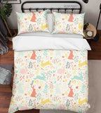 3D Hand Drawn Animal Bunny Leaf Color Quilt Cover Set Bedding Set Duvet Cover Pillowcases 105