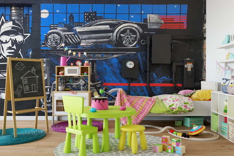 3D Graffiti Car Wall Mural Wallpaper 298