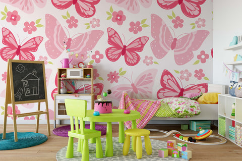 3D Pink Butterfly Wall Mural Wallpaper 100