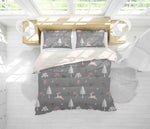 3D Grey Elk Trees Floral Quilt Cover Set Bedding Set Pillowcases 19