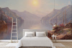 3D mountains lakes oil painting wall mural wallpaper 63