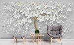3D White Floral Tree Relief Wall Mural Wallpaper 122