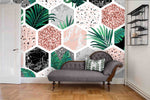 3D Modern Hexagon Leaves Wall Ship Mural Wallpaper 34 - Jessartdecoration