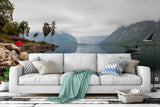 3D mountains rivers lakes wall mural wallpaper 22