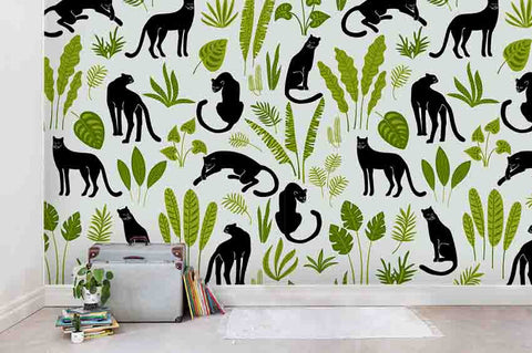 3D Cartoon Fresh Black Leopard Green Leaf Wall Mural Wallpaper ZY D108