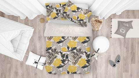 3D Yellow Flowers Quilt Cover Set Bedding Set Pillowcases 18