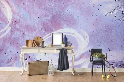 3D Purple Brick Holes Graffiti Wall Mural Wallpaper 59