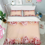 3D Pink Rose Floral Quilt Cover Set Bedding Set Pillowcases 16