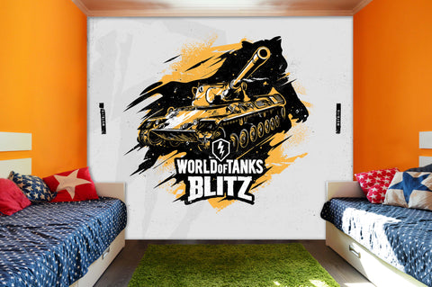 3D Golden Tank White Slogan Wall Mural Wallpaper 290