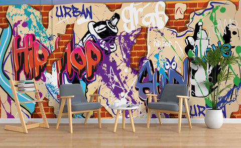 3D Brick Wall Colourful Graffiti Letter Wall Mural Wallpaper ZY D15