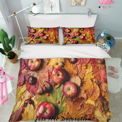 3D Autumn Apples Defoliation Quilt Cover Set Bedding Set Pillowcases 61