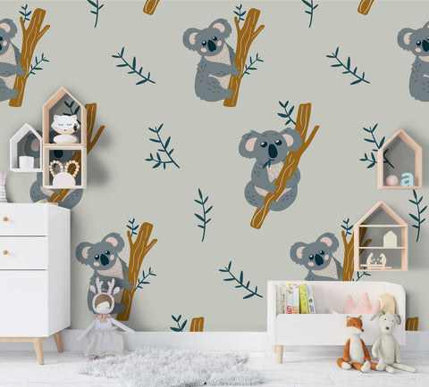 3D Cartoon Koala Branch Wall Mural Wallpaper A185 LQH