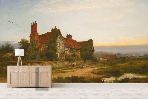 3D old houses countryside oil painting wall mural wallpaper 5