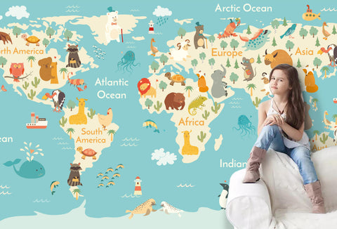 3D Cartoon Animals World Map Wall Mural Wallpaper 26