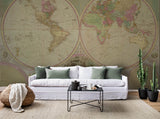 3D Circular World Map Wall Mural Wallpaper 1