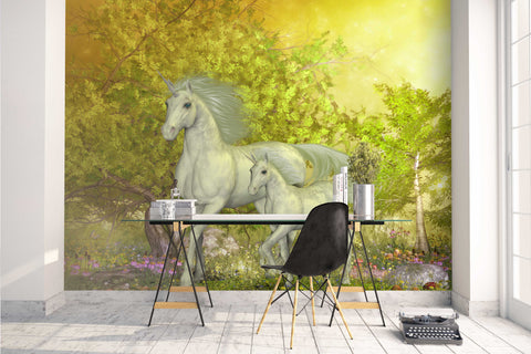 3D White Horse Green Tree Wall Mural Wallpaper 5