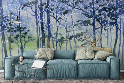 3D Snow Forest Oil Painting Wall Mural Wallpaper 69