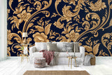 3D Abstract Golden Noble Floral Wall Mural Wallpaper 14 - Jessartdecoration