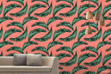 3D Hand Sketching Green Leaves Plant Wall Mural Wallpaper LXL 1390