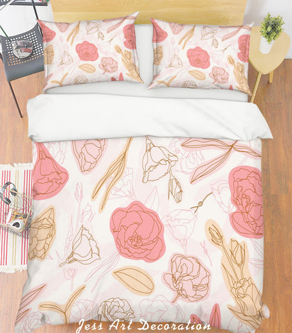 3D Pink Floral Quilt Cover Set Bedding Set Pillowcases 34