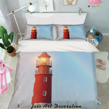 3D Red Lighthouse Quilt Cover Set Bedding Set Pillowcases 37