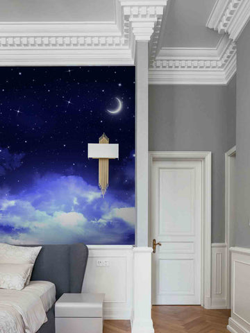 3D Moon Star Sky Clouds Night Wall Mural Wallpaper 14
