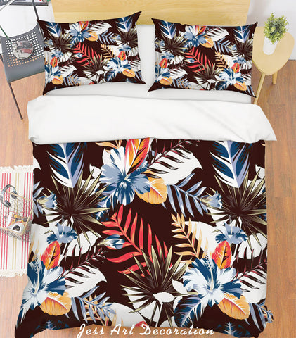 3D Blue Leaves Quilt Cover Set Bedding Set Pillowcases 123