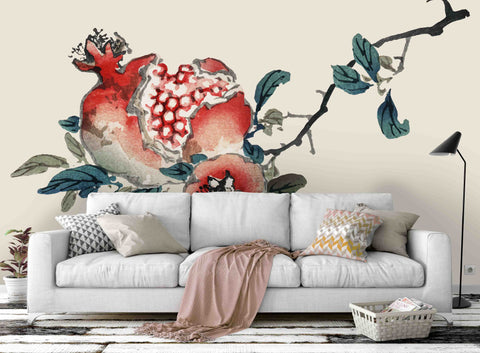 3D pomegranate twig wall mural wallpaper 18