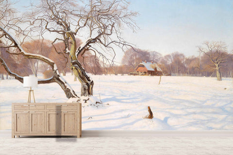 3D winter nordic oil painting wall mural wallpaper 58