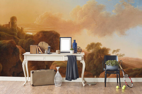 3D Golden Forest Hill Building River Donkey Oil Painting Wall Mural Wallpaper 64