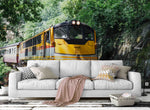 3D yellow train forest wall mural wallpaper 11
