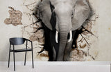 3D Old Brick Wall Elephant Wall Mural Wallpaper 104
