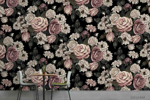 3D Vintage Rose Floral Wall Mural Wallpaper LQH 38