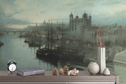 3D Canal Castle Oil Painting Wall Mural Wallpaper 31