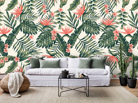 3D Tropical Colorful Flowers Plants Wall Mural Wallpaper 52