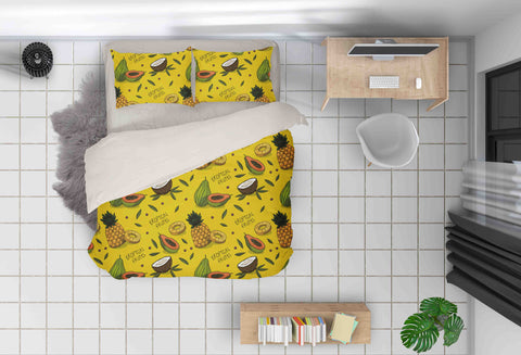 3D Yellow Papaya Pineapple Coconut Quilt Cover Set Bedding Set Pillowcases 68