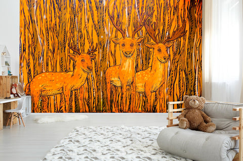 3D Abstract Orange Forest Elk Wall Mural Wallpaper 114