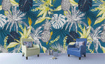3D Blue Pineapple Palm Tree Leaves Wall Mural Wallpaper SF53