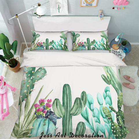 3D Watercolor Green Cactus Quilt Cover Set Bedding Set Pillowcases 87