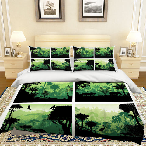 3D Green Tropical Forest Animal Quilt Cover Set Bedding Set Pillowcases 72