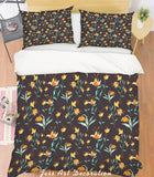 3D Yellow Floral Dark Quilt Cover Set Bedding Set Pillowcases 43
