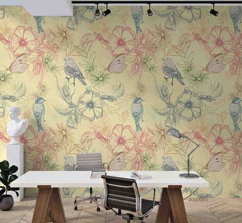 3D Hand Skrtching Bird Floral Plant Wall Mural Wallpaper LXL 1439
