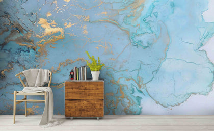 3D Blue Ocean Marble Texture Wall Mural Wallpaper 20