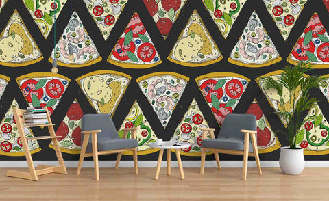 3D Cartoon Pizza Wall Mural Wallpaper SF29