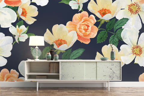 3D Watercolor Pink Floral Mountain Wall Mural Wallpaper 36