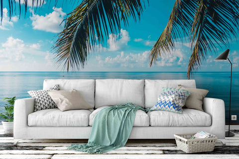 3D Blue Sky Coconut Tree Wall Mural Wallpaper 9