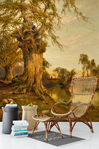 3D Riverside Trees Oil Painting Wall Mural Wallpaper 92