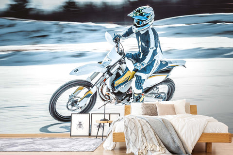 3D Extreme Motorcycle Snow Wall Mural Wallpaper A069 LQH