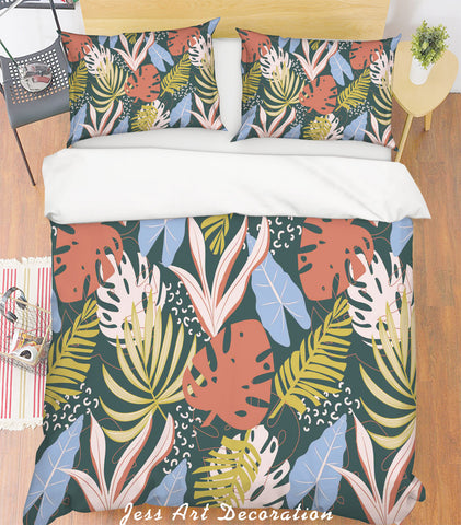 3D Leaves Green Quilt Cover Set Bedding Set Pillowcases 145