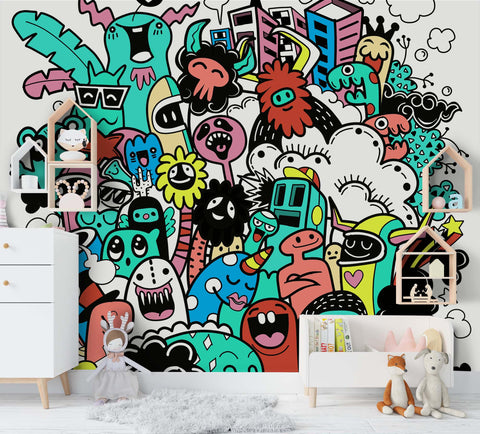 3D Cartoon Graffiti Wall Mural Wallpaper SF78